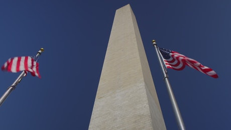 American flags at the Washington Monument, time-lapse