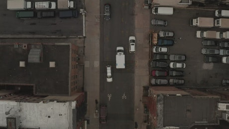 An ambulance in the streets, tracking shot