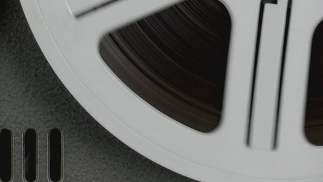 Analog audio tape being played, close up