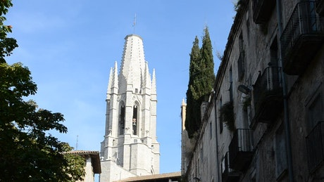 Ancient buildings against a blue sky