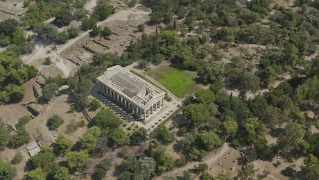 Ancient Greco-Roman Temple, aerial full shot