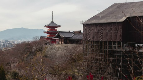 Ancient Japanese building in the hill