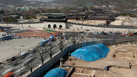 Ancient Korean palace and the traffic road