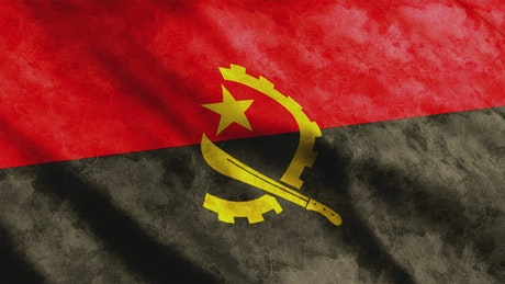 Angola flag moving by the wind