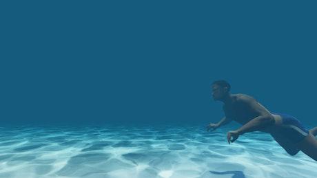 Animated man swimming underwater