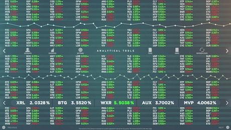 Animated stock market analytics software mockup