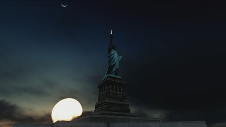 Animation of a Statue of Liberty