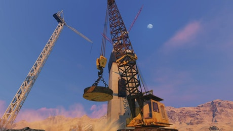 Animation of construction machinery
