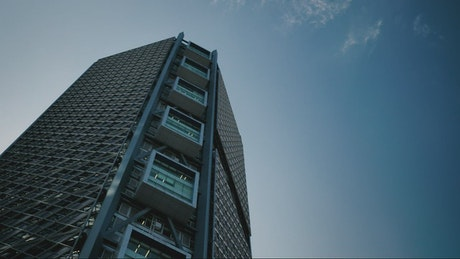 Apartment building and clear sky