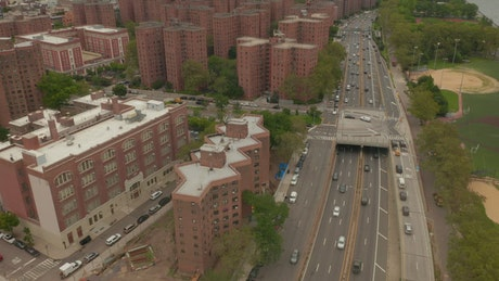 Apartment buildings area in New York City