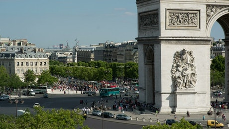 Arc de Triomphe roundabout by day