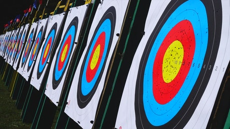 Archery targets in a line