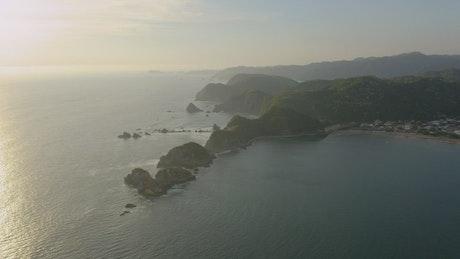 Archipelago on a coast at sunset