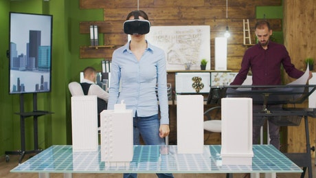 Architect using a VR headset