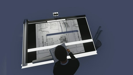 Architect working on a project, 3D render