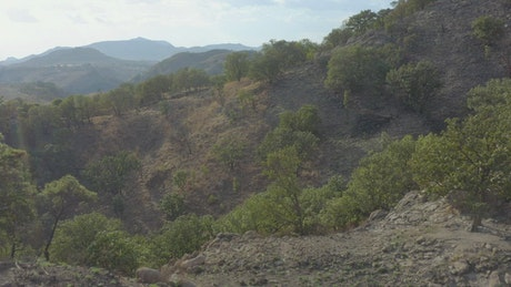 Arid and hot natural relief traveled from above