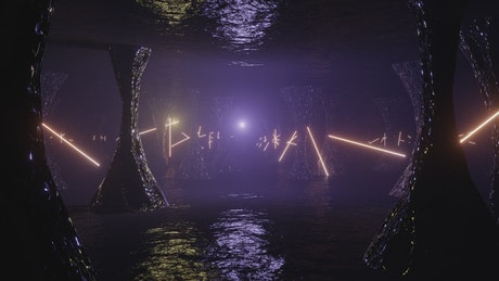 Arriving at an alien cave with purple led lights