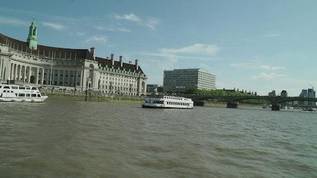 Arriving at the Thames river port
