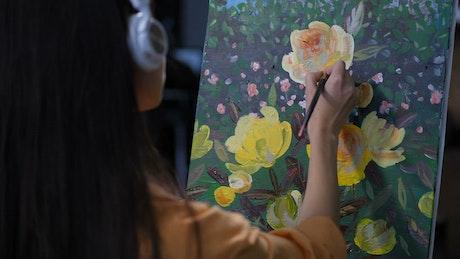 Artist listening to music