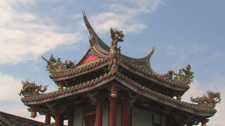 Asian temple roof decoration