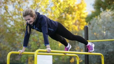 Athlete exercising outside