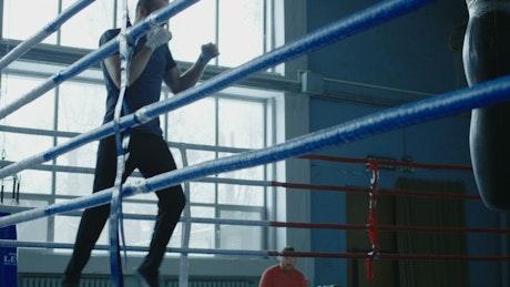 Athlete training boxing on the ring