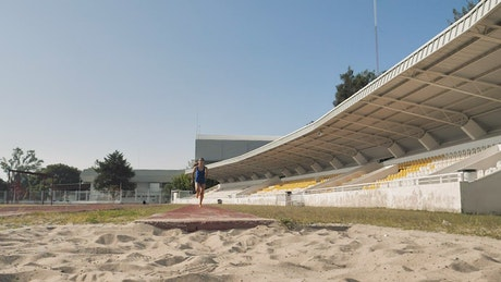 Athlete training for the long jump