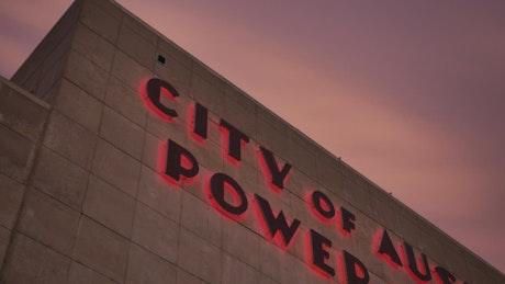 Austin Power Plant Building at Dusk