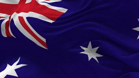 Australian flag waving gently in closeup