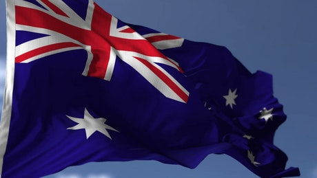 Australian flag waving in slow motion