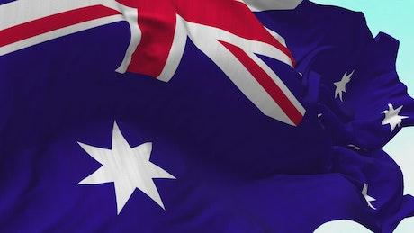 Australian flag waving, slow motion