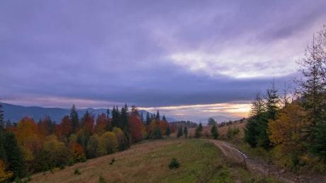 Autumn hills at sunrise
