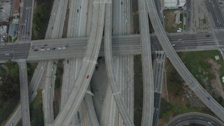 Avenues and bridges in LA, aerial shot
