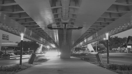 Avenues under a peripheral road at night
