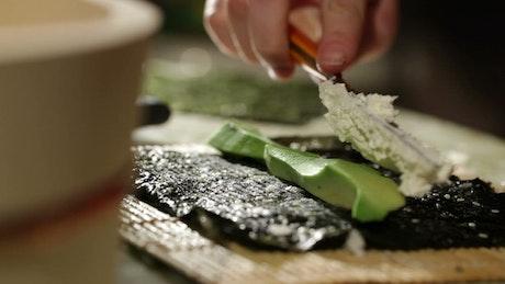 Avocado and cheese Sushi