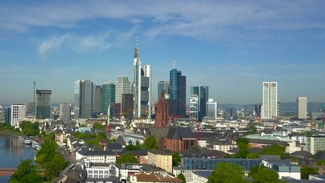 Awesome Frankfurt skyline seen from the sky