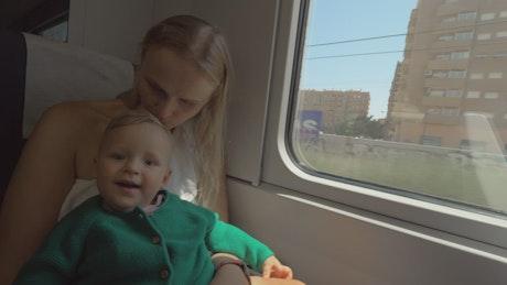 Baby enjoying a train journey