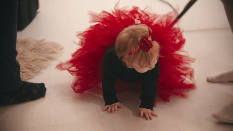 Baby girl with a red tutu during a photoshoot