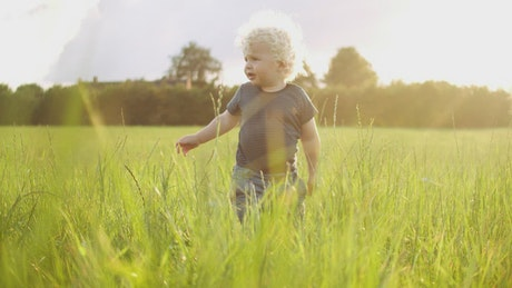 Baby playing in a field