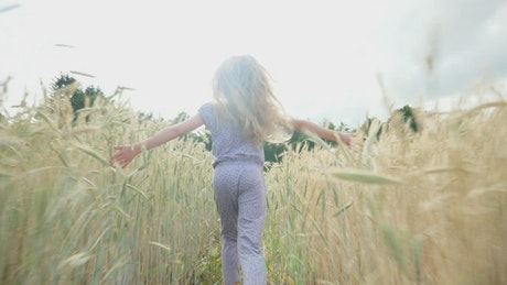 Back view of girl running through sunlit field