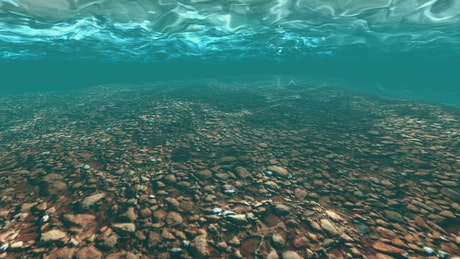 Background with rocks under clear water in 3D