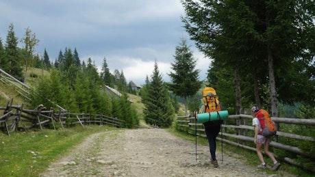 Backpackers walking through a rural Road