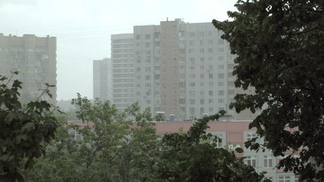 Bad weather over apartment buildings