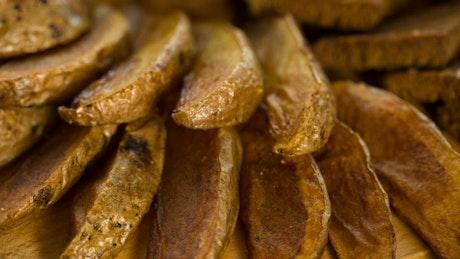 Baked potatoes, close up