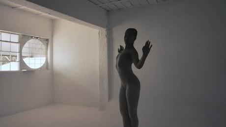 Ballerina in silhouette, turning