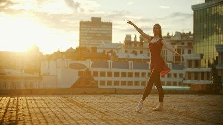 Ballet dancer taking an artistic leap