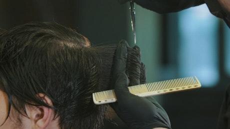 Barber cutting hair, close up
