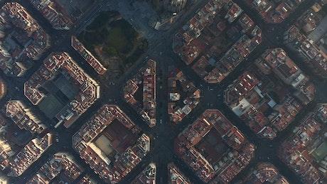 Barcelona city blocks, upside down aerial view