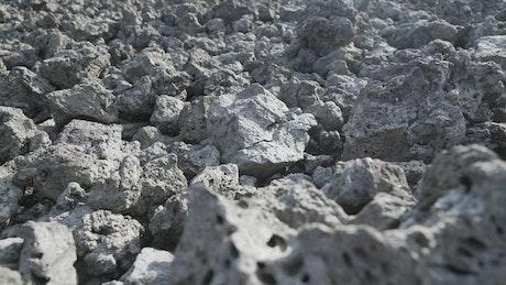 Basalt rocks in the ground