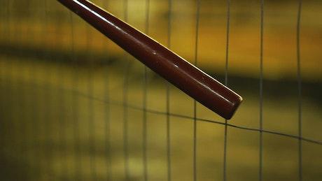 Baseball bat on a wire fence
